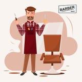 Homem esperto do cabeleireiro que está na frente de sua barbearia Imagem de Stock Royalty Free