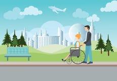 Homem esperto que empurra a cadeira de rodas com mulher deficiente Ilustração Stock