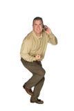Homem excitado no telefone de pilha Fotos de Stock