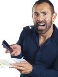 Homem farpado com mapa, telefone de pilha, lupa imagens de stock royalty free