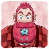 Homem farpado cor-de-rosa com um gato que esconde em sua barba Fotografia de Stock Royalty Free