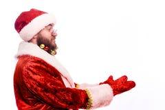 Homem farpado emocional novo em um traje do Natal fotos de stock