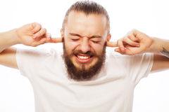 Homem farpado frustrante imagens de stock