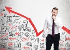 Homem farpado, gráfico vermelho e ícones do negócio Imagem de Stock Royalty Free