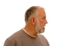 Homem farpado idoso no perfil Foto de Stock Royalty Free
