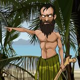 Homem farpado irritado dos desenhos animados em uma ilha tropical Imagens de Stock