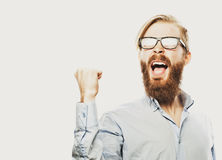 Homem farpado novo com bom sinal da ideia Imagens de Stock