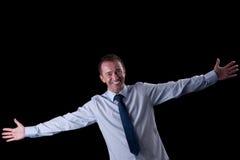 Homem feliz com braços abertos fotos de stock royalty free