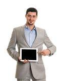 Homem feliz com o computador do PC da tabuleta Imagem de Stock Royalty Free