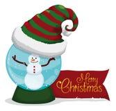 Homem feliz da neve dentro de Crystal Ball com Alegre-Xmas mensagem, ilustração do vetor Fotos de Stock Royalty Free
