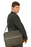 Homem feliz do buisiness que vai ao trabalho Imagens de Stock