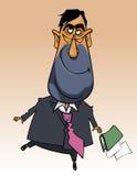 Homem feliz dos desenhos animados em um salto do terno Imagem de Stock