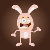 Homem feliz dos desenhos animados no traje do coelho Imagens de Stock