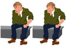 Homem feliz dos desenhos animados que senta-se no banco cinzento ilustração royalty free
