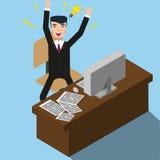 Homem feliz na ilustração do escritório Projeto liso Vetor ilustração royalty free