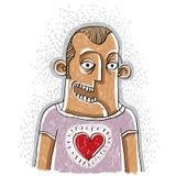 Homem feliz na ilustração conceptual do amor, sorriso masculino Povos Foto de Stock Royalty Free