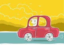Homem feliz que conduz pelo carro. Paisagem da natureza do vetor Fotografia de Stock