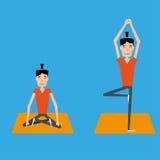 Homem feliz que faz a ioga ilustração do vetor