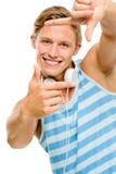 Homem feliz que toma a fotografia fotos de stock