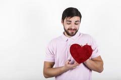 Homem feliz romântico do Valentim Imagens de Stock Royalty Free