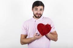 Homem feliz romântico do Valentim Fotos de Stock Royalty Free