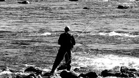 Homem Fly-Fishing Fotografia de Stock