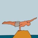 homem forte de equilíbrio na rocha Fotografia de Stock
