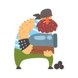Homem forte desalinhado do pirata que guarda um canhão, personagem de banda desenhada da Corte-garganta do obstrucionismo Imagem de Stock Royalty Free