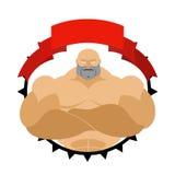 Homem forte no círculo Logotipo para a sala da aptidão ou a equipe de esportes Vec Foto de Stock Royalty Free