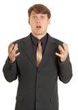 Homem fortemente scared e confuso fotografia de stock royalty free