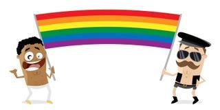 Homem gay com a bandeira grande do arco-íris ilustração royalty free