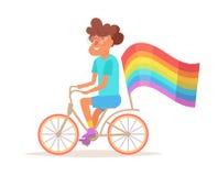 Homem gay em uma bicicleta ilustração do vetor