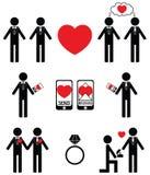 Homem gay que cai em ícones do amor e do acoplamento ilustração royalty free