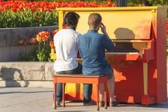 2 homem gay que jogam o piano foto de stock