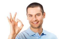 Homem gesticulando feliz Imagem de Stock Royalty Free