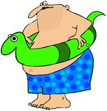 Homem gordo com um brinquedo da nadada Fotografia de Stock Royalty Free