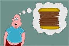 Homem gordo com um sanduíche grande Fotografia de Stock