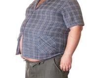 Homem gordo com uma barriga grande Fotos de Stock Royalty Free