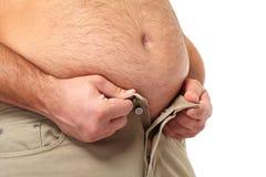 Homem gordo com uma barriga grande. Foto de Stock Royalty Free