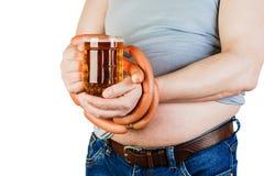Homem gordo da barriga isolado no fundo branco O conceito do healt fotos de stock