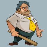 Homem gordo dos desenhos animados em um laço com um bastão em sua mão Foto de Stock