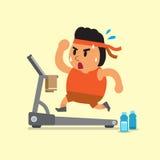Homem gordo dos desenhos animados que corre na escada rolante Imagens de Stock Royalty Free