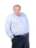 Homem gordo em uma camisa azul Fotos de Stock Royalty Free