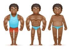 Homem gordo muscular do halterofilista afro-americano da perda de peso antes após o projeto isolado dos desenhos animados 3d dos  ilustração stock