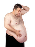 Homem gordo surpreendido foto de stock royalty free