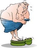Homem gordo surpreendido em um peso do banho Imagem de Stock Royalty Free