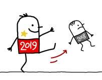 Homem 2019 grande dos desenhos animados que retrocede para fora um 2018 pequeno ilustração stock