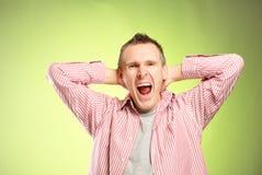Homem gritando foto de stock