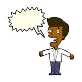 homem gritando dos desenhos animados com bolha do discurso Imagens de Stock