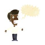 homem gritando dos desenhos animados com bolha do discurso Foto de Stock